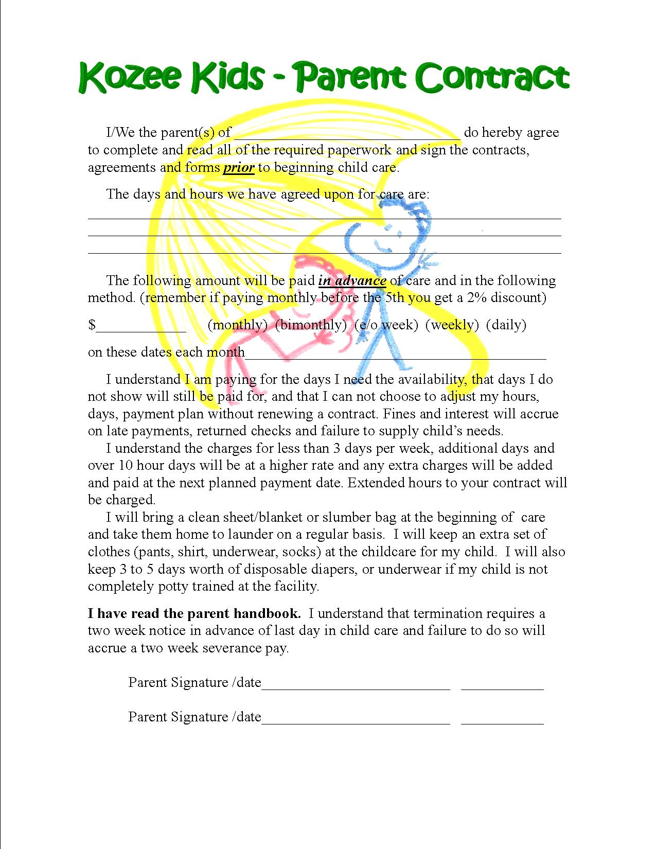 forms for kozee kids licensed child care in stanwood wa